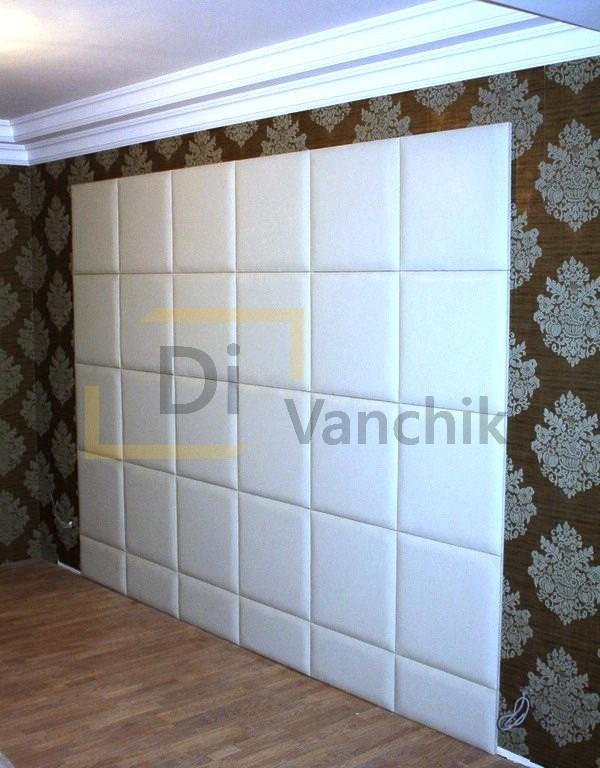 мягкая стеновая панель в белом цвете