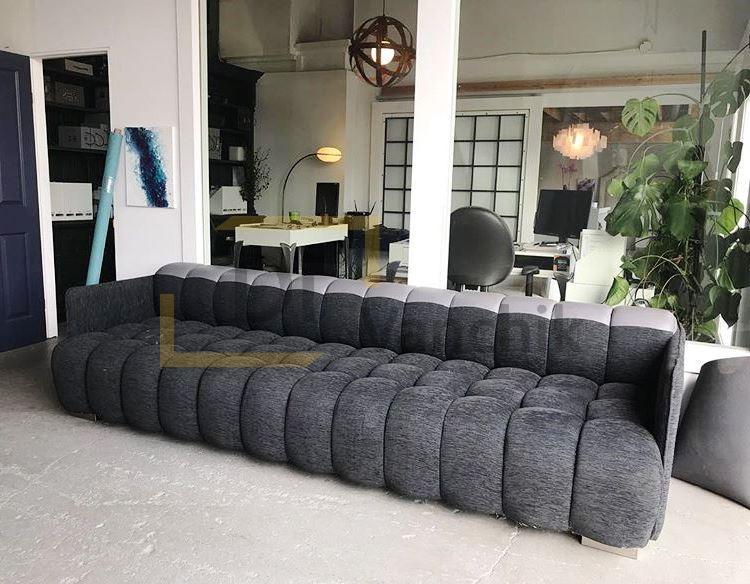 мягкий диван в сером цвете на заказ