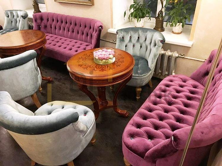 компалект мягкой мебели на заказ серо фиолетовая