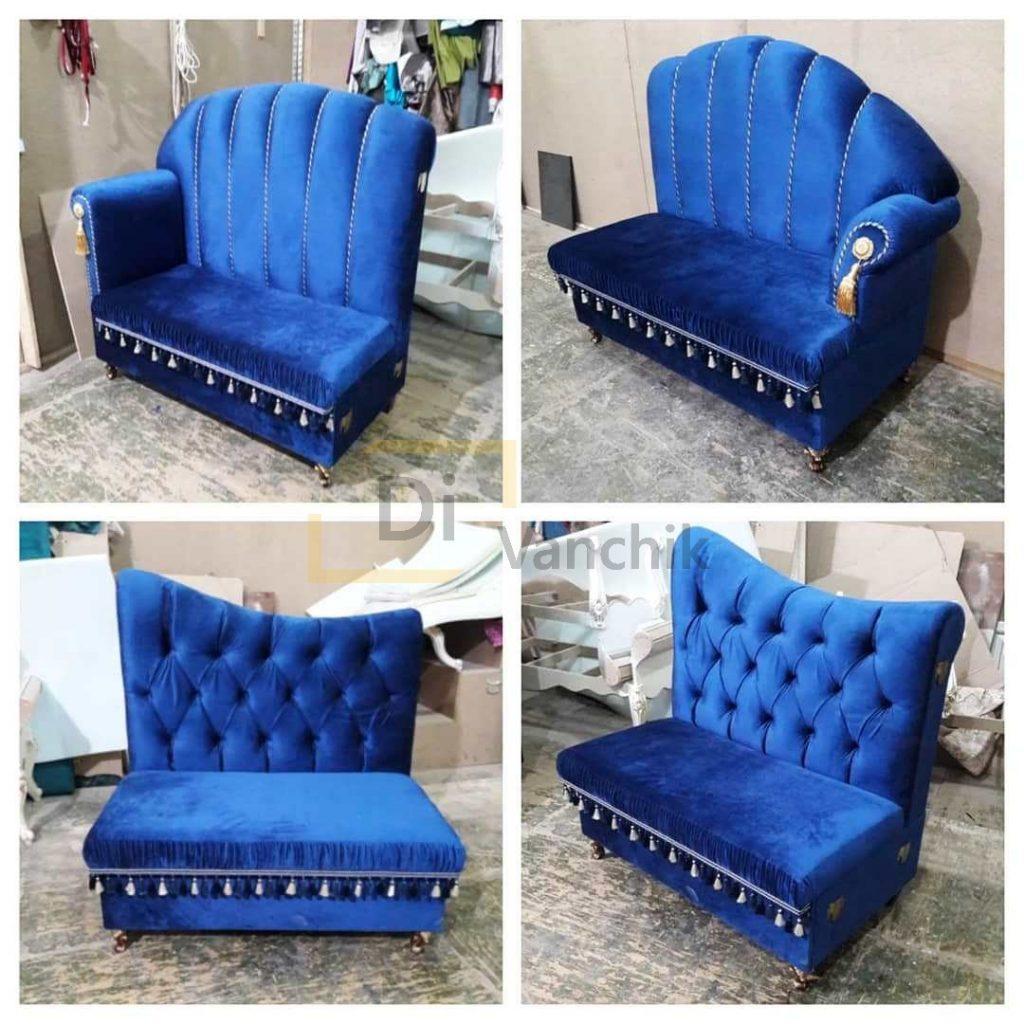 синий модульный диван большой