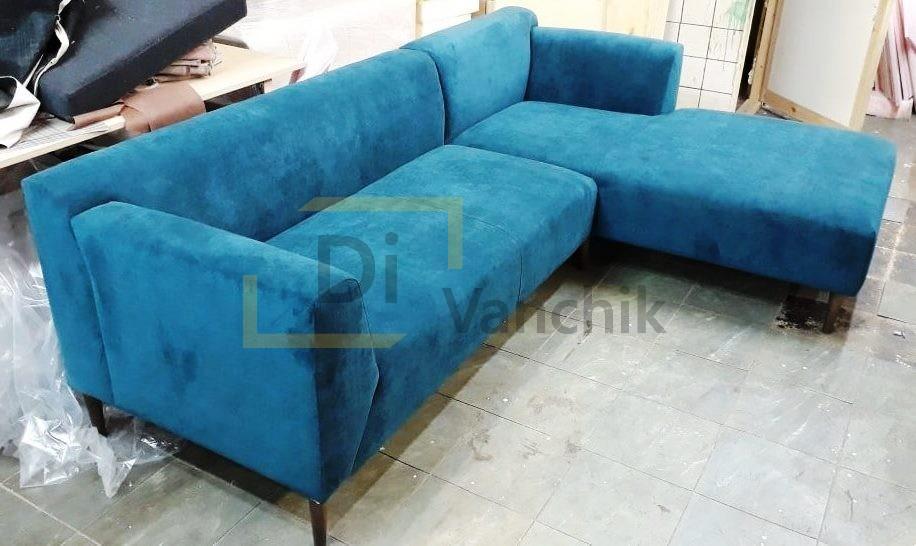 угловой диван в синем цвете на заказ