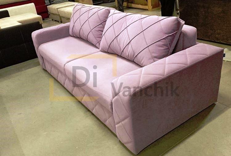 прямой диван розовый прошитый