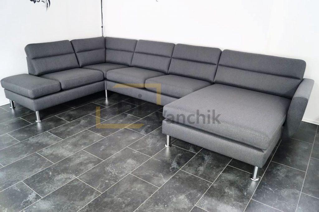 большой угловой диван серый