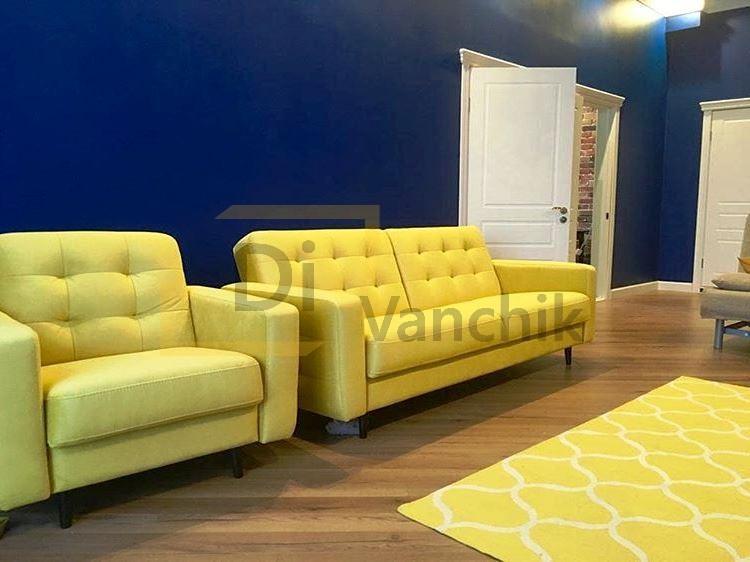 желтый диван с креслом под заказ