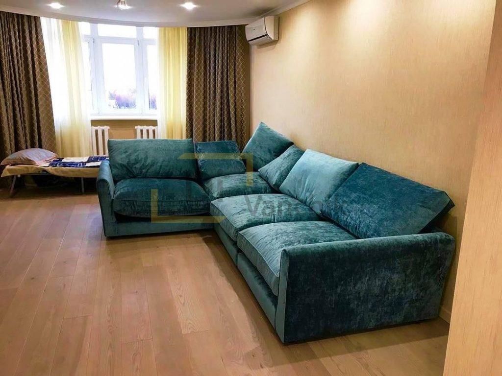 диван угловой с подушками зеленый