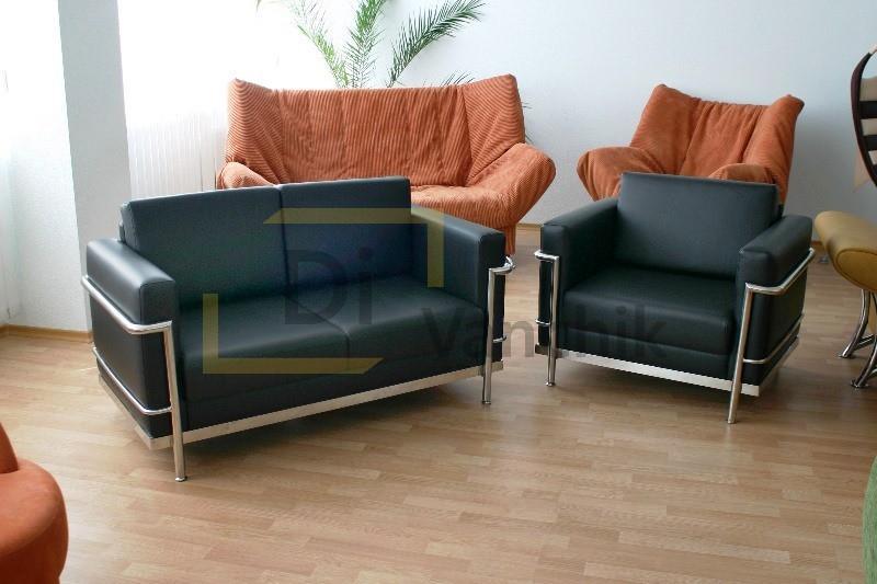 комплект мягкой мебели диван и кресло черные