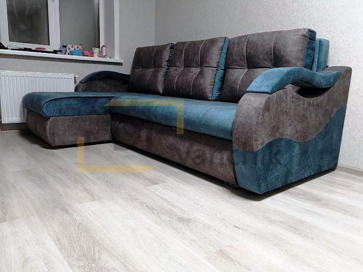 угловой диван синий с серым