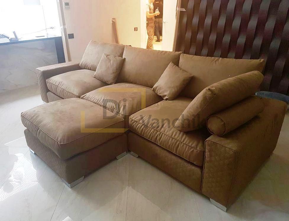 Серый диван с пуфиком заказать