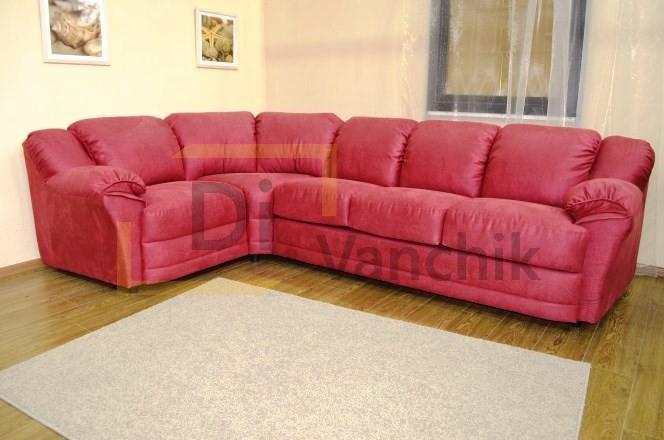 угловой красный диван мягкий