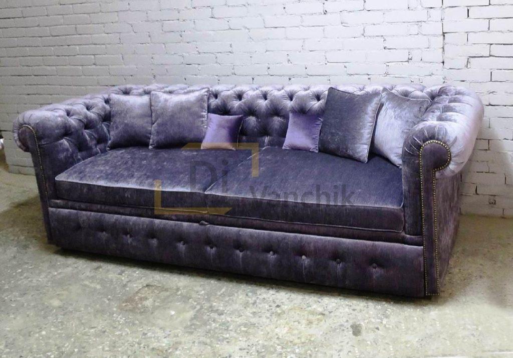 прямой диван бархатный заказать киев