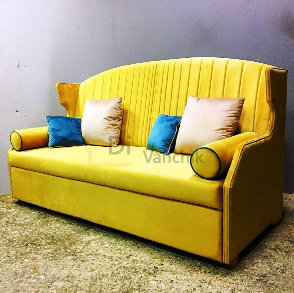 желтый прямой диван с спинкой