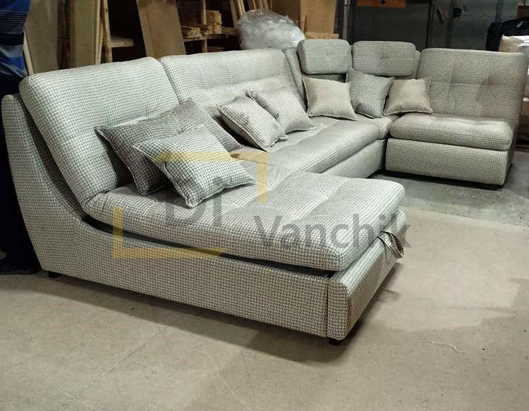 п образный диван в серой ткани