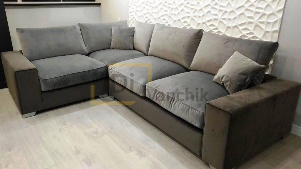 масивный угловой диван серый