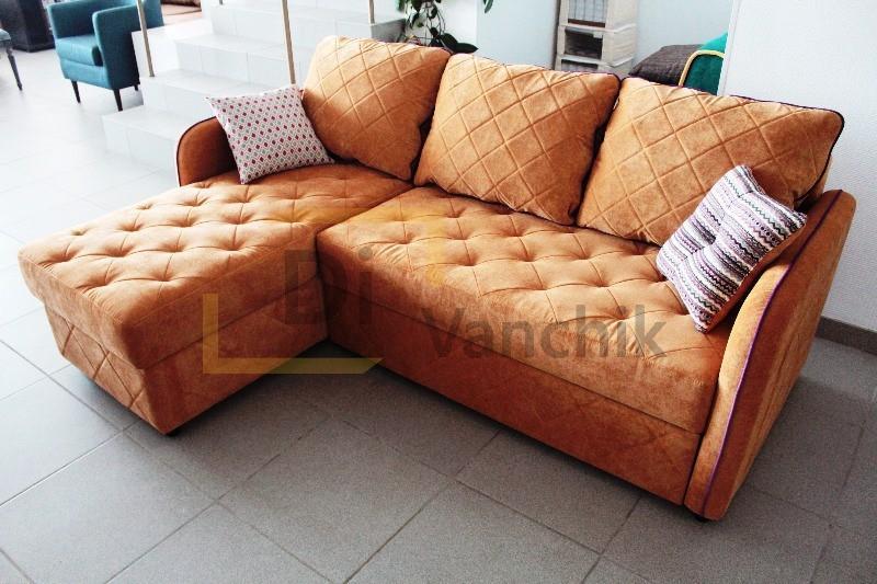 угловой диван в оранжевом цвете на заказ