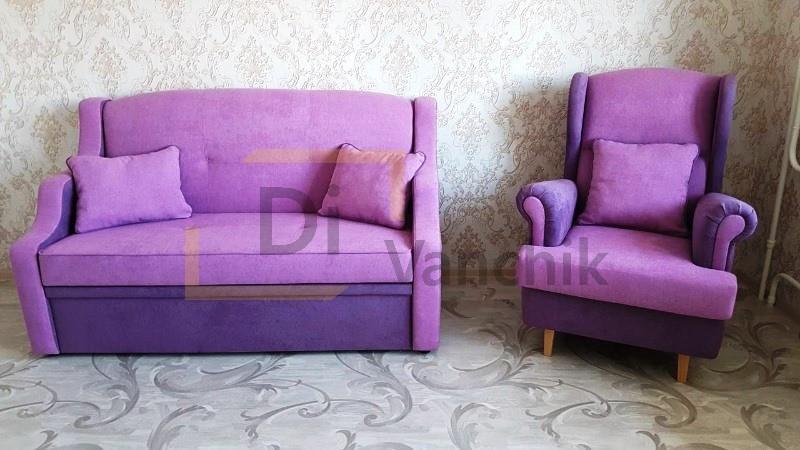 диван и кресло в фиолетовом цвете