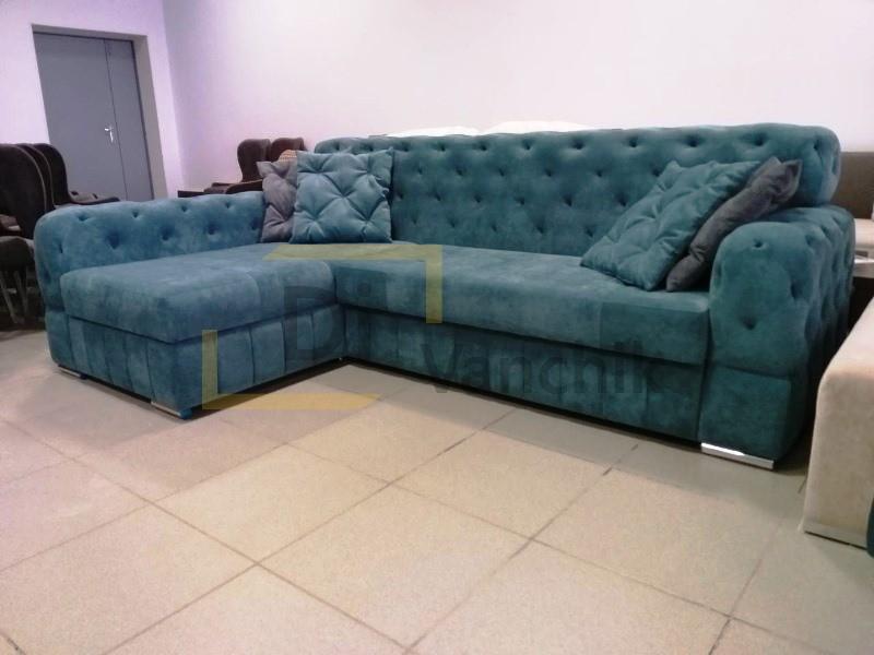 угловой диван честер зеленый