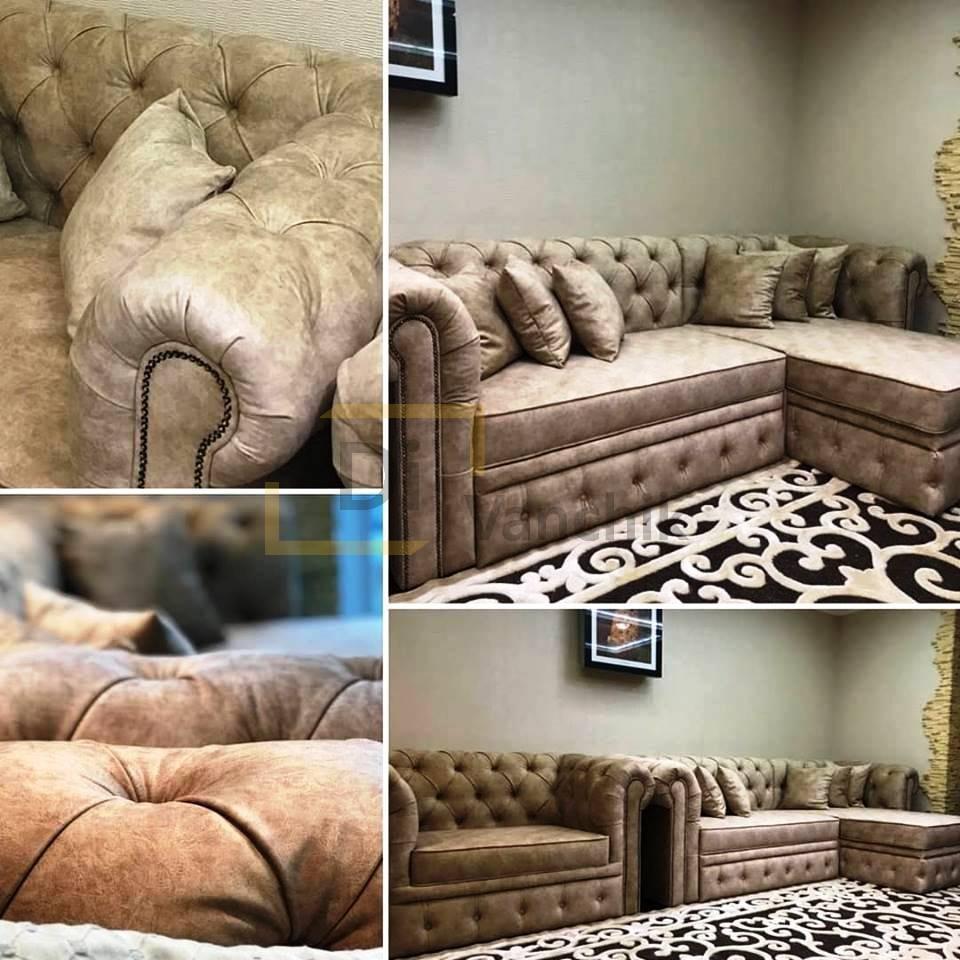 угловой диван и прямой из кожи
