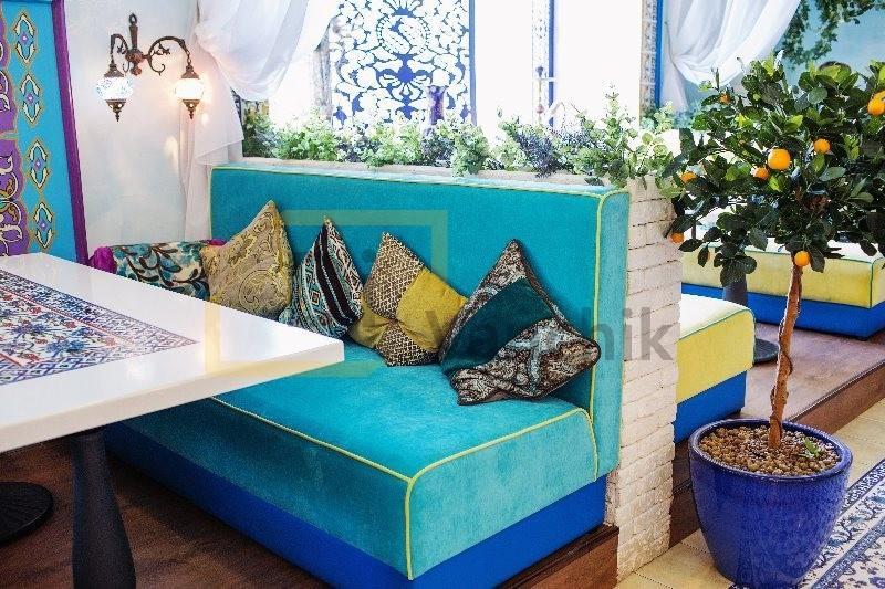 диванчики синие для кафе на заказ