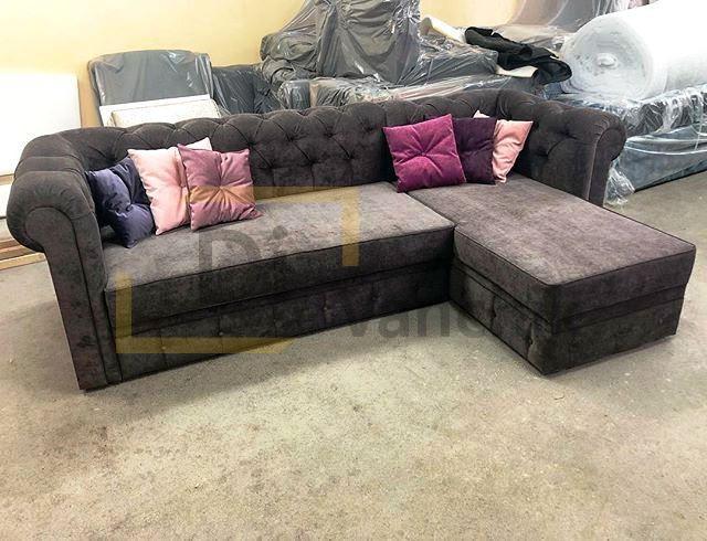 бархатный угловой диван 22