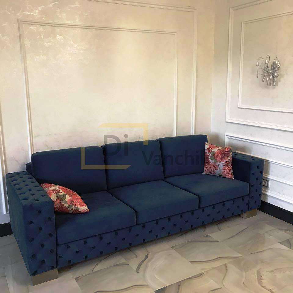 прямой диван синий заказ мягкой