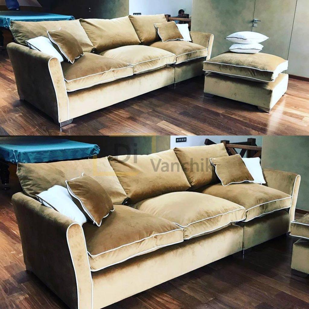 диван прямой золотой с пуфом заказать