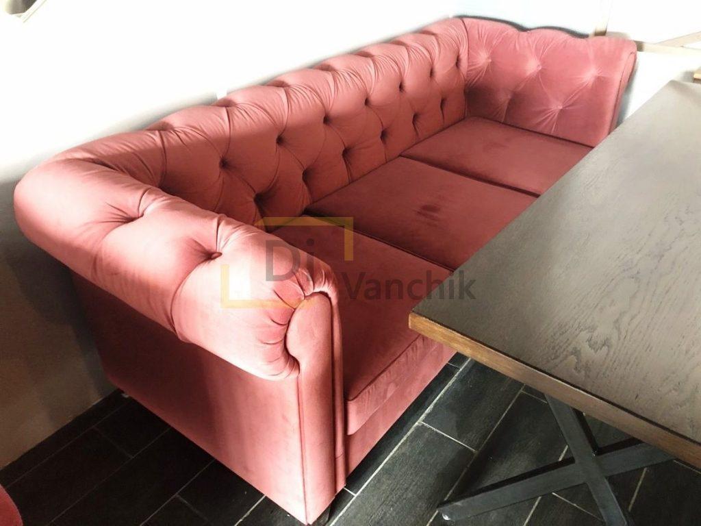 розовы диван честер от производства
