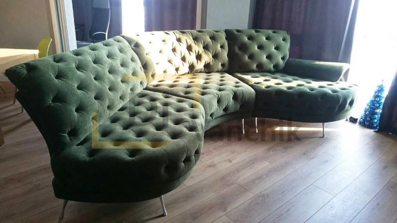 радиусный модульный зеленый диван для кухни