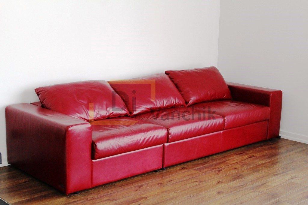 кожаный красны диван изготовление кировоград