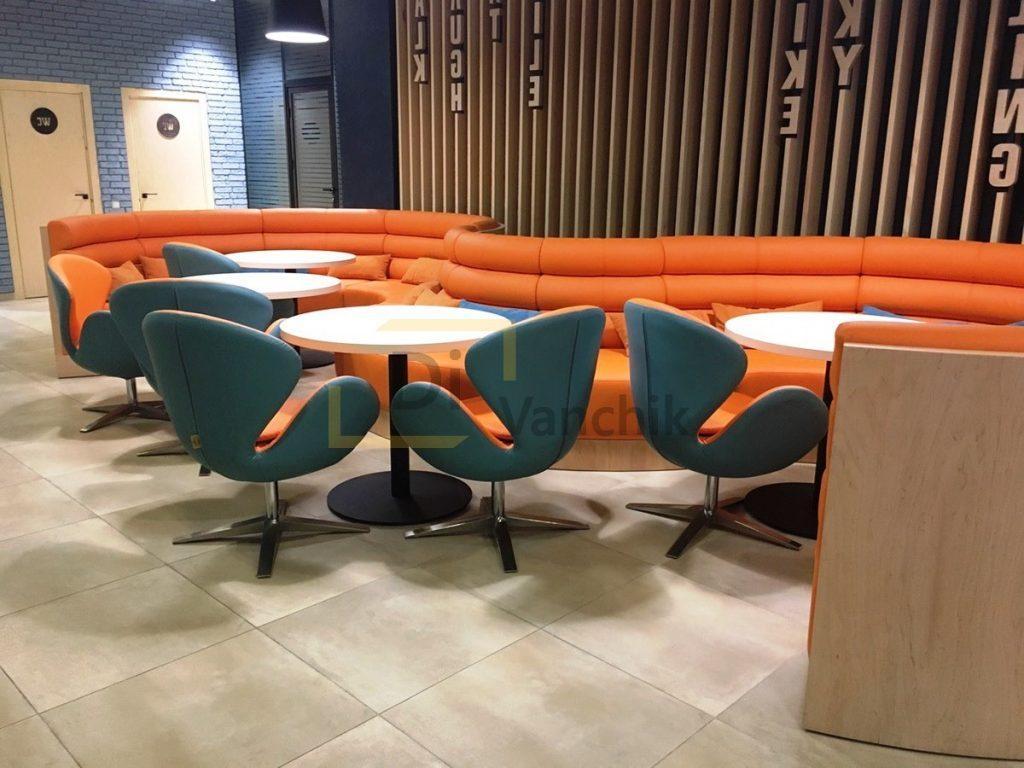 мягкая мебель в бар оранжевая