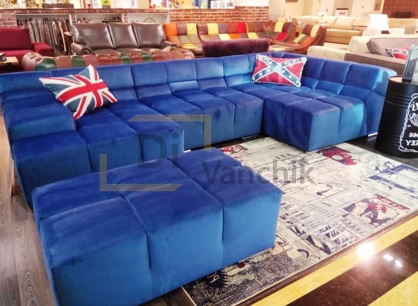 синий диван италия в салоне