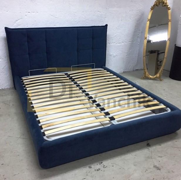 кровать синяя с механизмом для белья Киев5
