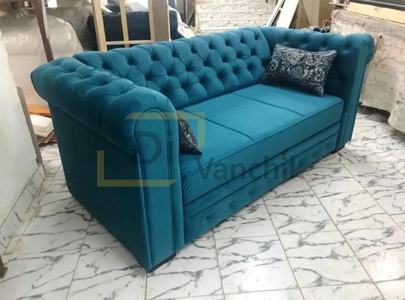 синий диван подол