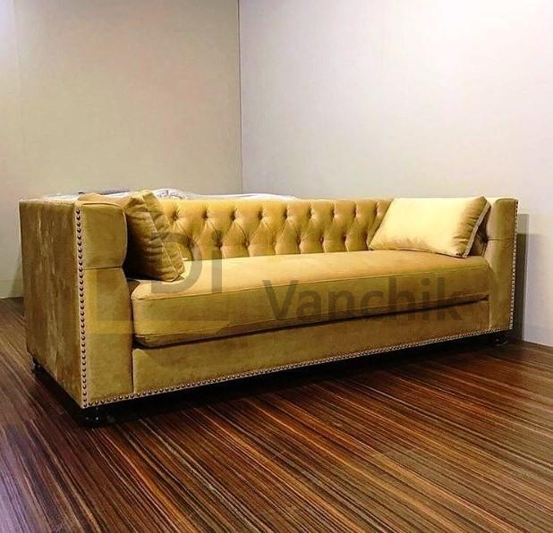 золотистый диван на заказ в Киеве прямой