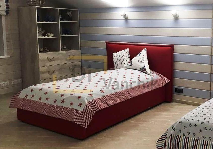 кровать маленькая красная с изголовьем