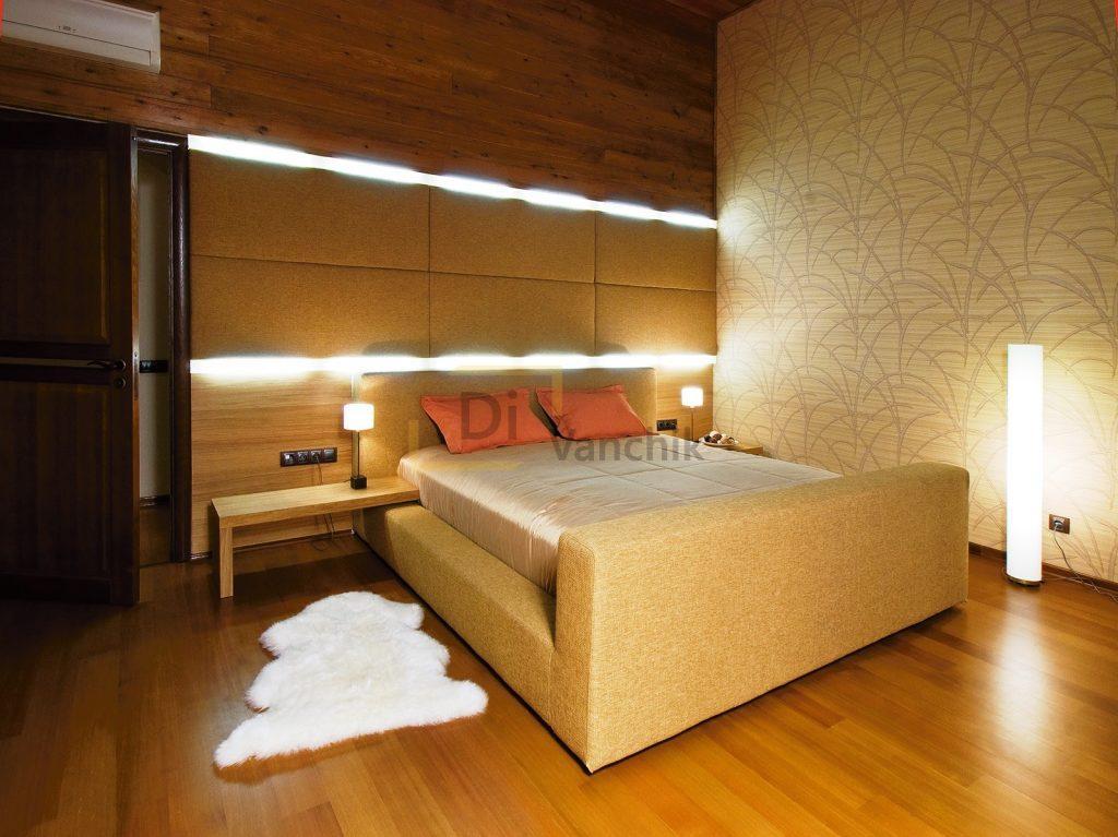 мягкая кровать с лед посдветкой